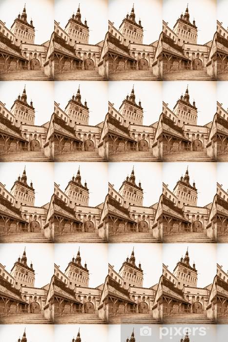 Tapeta na wymiar winylowa Średniowieczna wieża zegarowa na Cytadeli Sighisoara, Transylwania, Roman - Europa