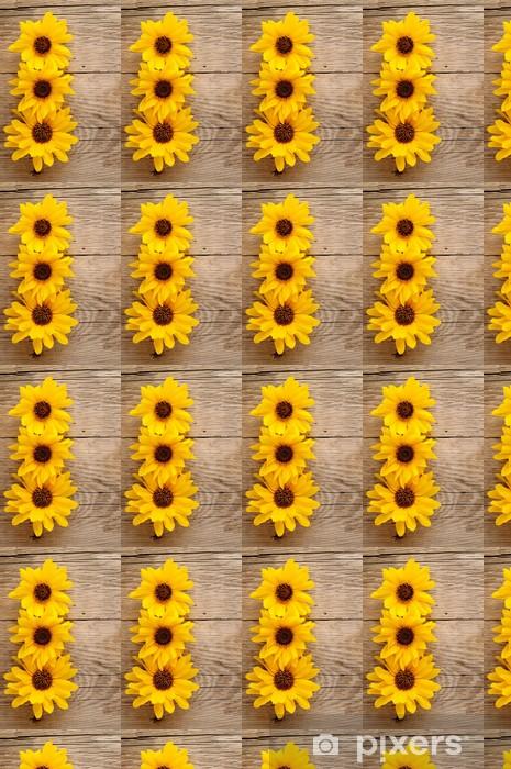 Vinylová tapeta na míru Okrasné slunečnice na dřevěném pozadí - Témata