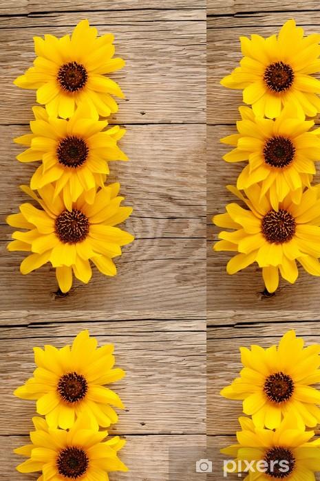 Vinylová Tapeta Okrasné slunečnice na dřevěném pozadí - Témata