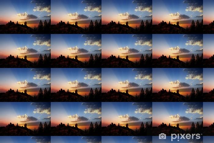 Gran Canaria Roque Nublo Fraile Dramatic Sunset Wallpaper Vinyl Custom Made