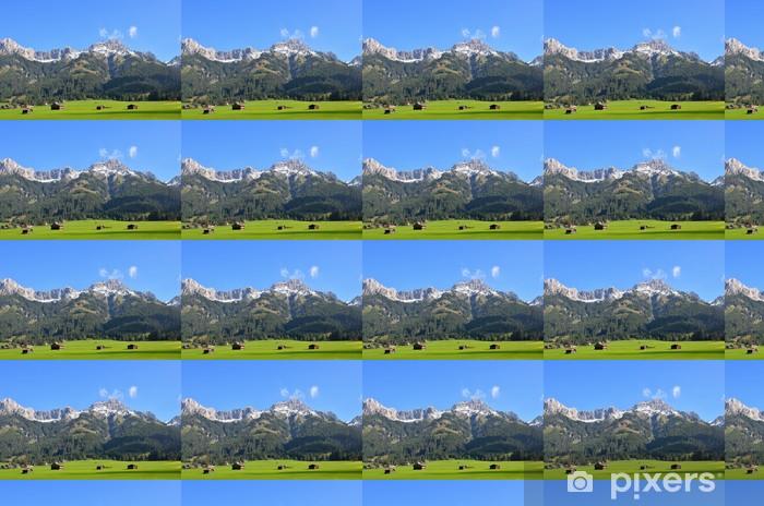Vinyltapete nach Maß Bergwiese mit Hütten - Berge