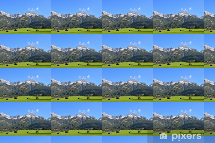 Bergwiese mit Hütten Personlige vinyltapet - Bjerge