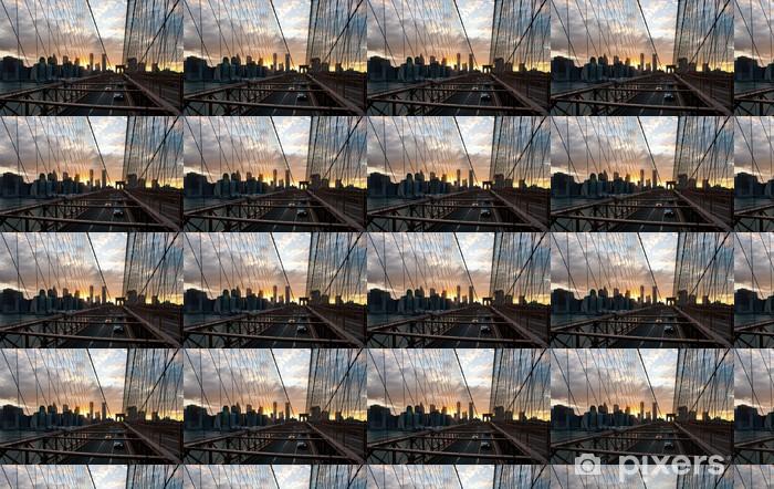 Vinyltapete nach Maß Panorama-Aufnahme der Skyline von Manhattan von der Brooklyn Bridge - Amerikanische Städte