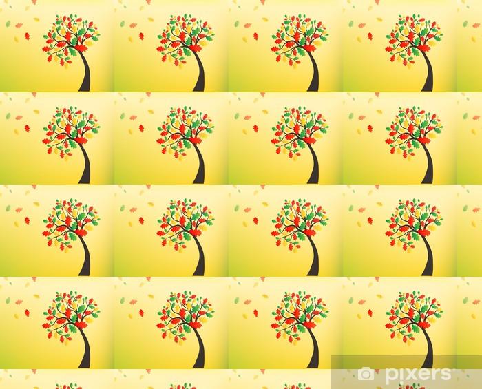 Syksyn taustalla, tammipuu, jossa putoavat lehdet Räätälöity vinyylitapetti - Taide Ja Tuotanto
