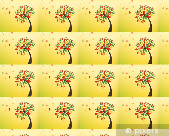 Autumn background, oak tree with falling leaves Vinyl custom-made wallpaper - Art and Creation