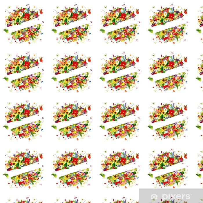 Vinylová tapeta na míru Dárková karta design s květinovým buketem, čtyři roční období - Roční období
