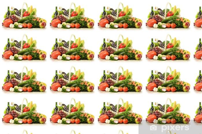 Papier peint vinyle sur mesure Fruits et légumes dans le panier en osier - Légumes