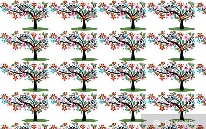 Tapeta na wymiar winylowa Dwie sowy siedzą na drzewie - Dla przedszkolaka