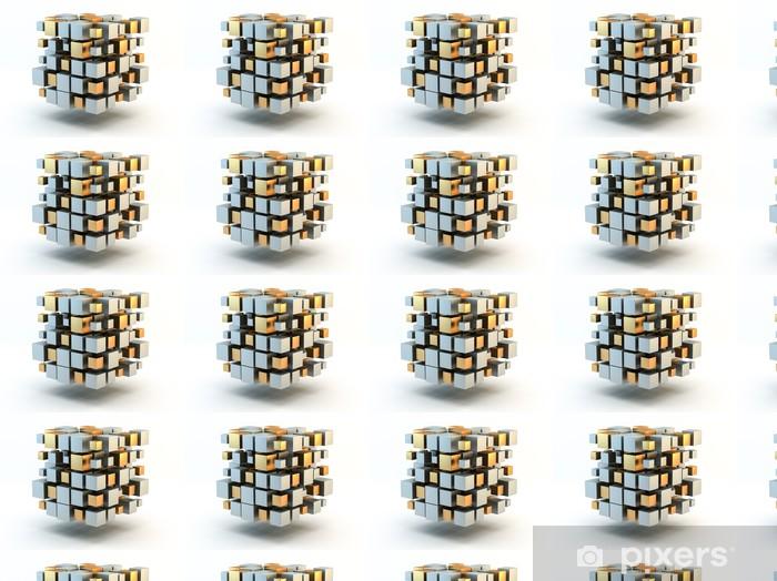 Vinyltapete nach Maß Silber und Gold 3D Blocks - Zeichen und Symbole