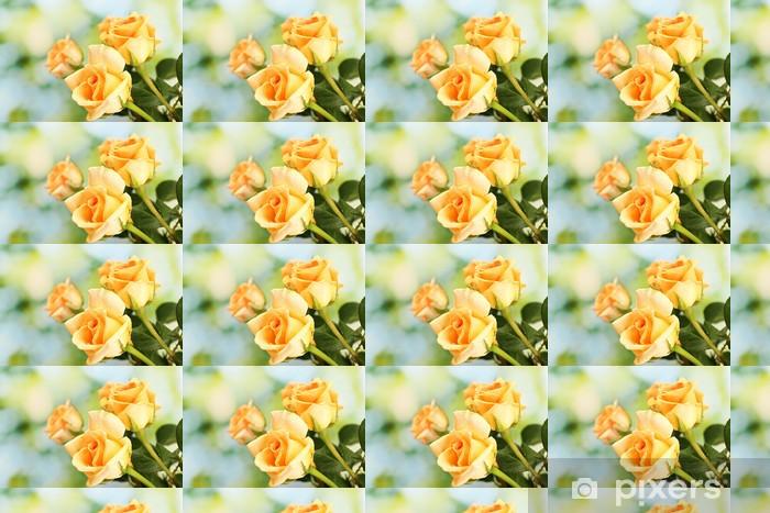 Papier peint vinyle sur mesure Beau bouquet de roses sur fond vert - Fleurs