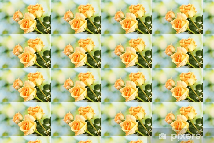 beautiful bouquet of roses on green background Vinyl custom-made wallpaper - Flowers