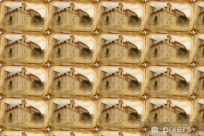 Papel pintado estándar a medida Vistas de Praga hecha en estilo de época, como una postal - Ciudades europeas
