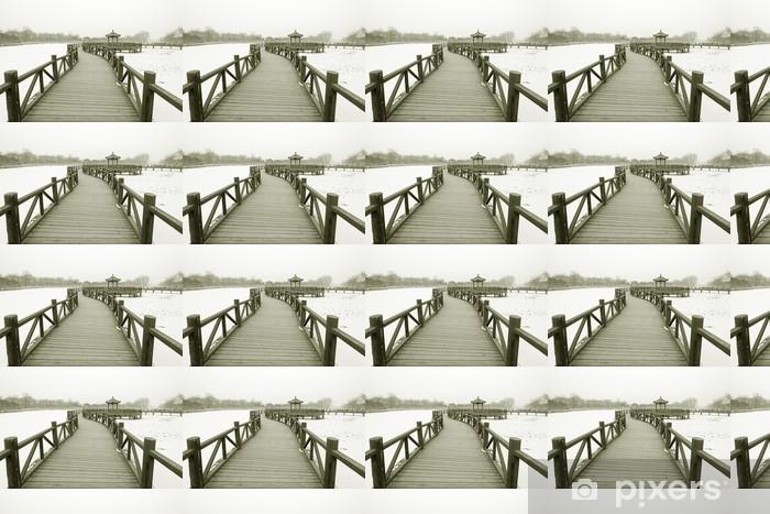 Tapeta na wymiar winylowa Chiński tradycyjny styl drewniany most w śniegu - Zabytki