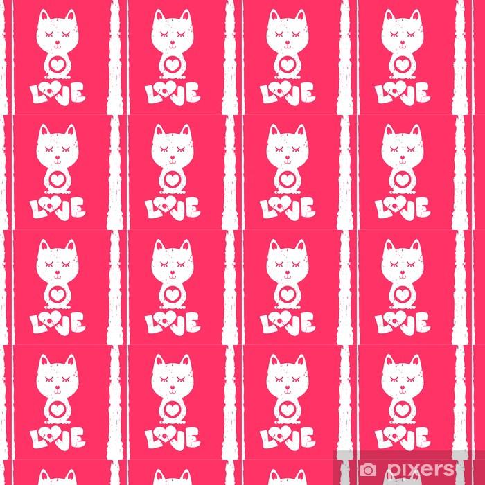 Vinylová tapeta na míru Kočka v lásce Valentine karty - Mezinárodní svátky
