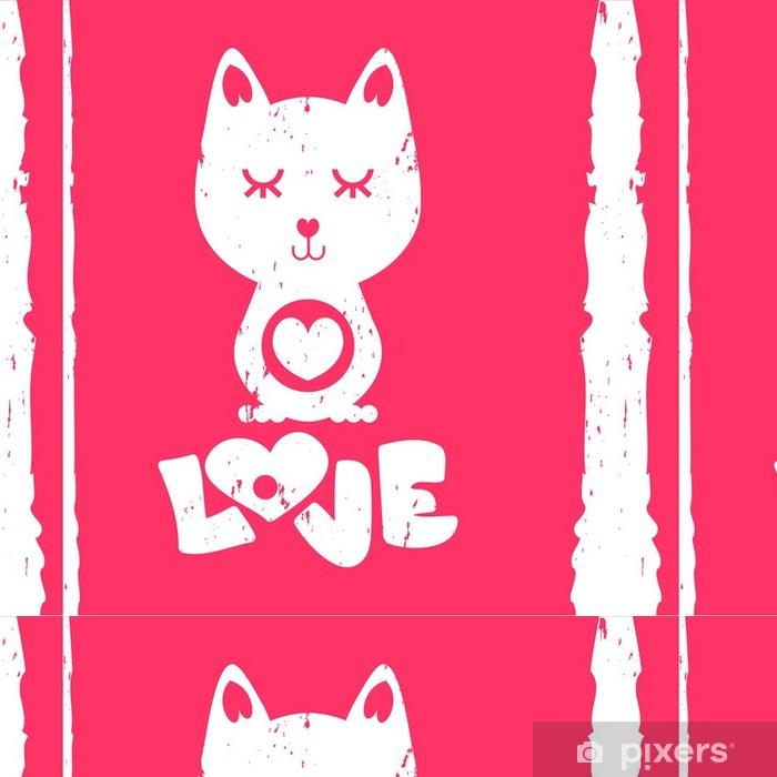Vinylová Tapeta Kočka v lásce Valentine karty - Mezinárodní svátky