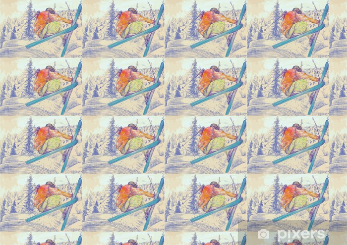 Tapeta na wymiar winylowa Bezpłatne narciarz styl, podstęp (jest to rysunek konwertowane do wektora) - Sporty zimowe
