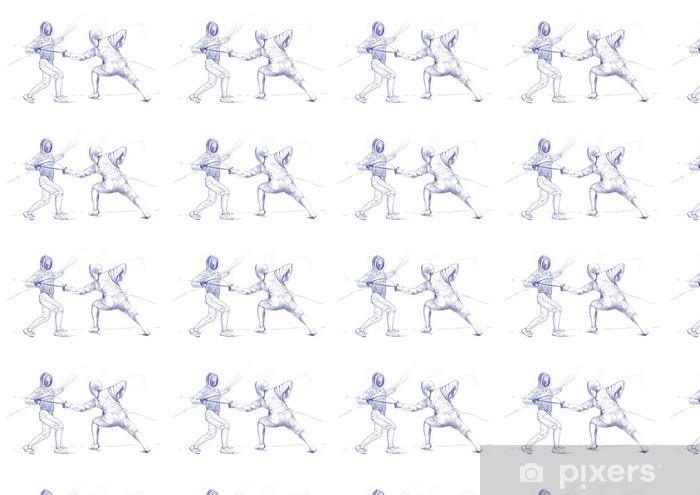 Papier peint vinyle sur mesure Escrime - image de dessin à la main (ce qui est dessin original) - Sports individuels