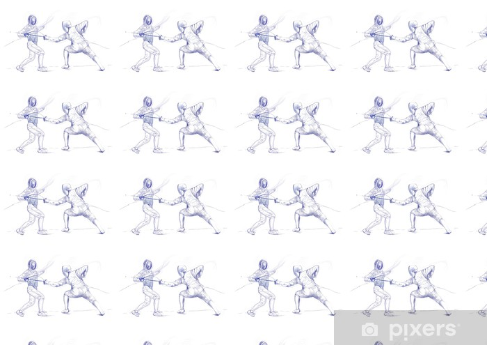 fencing - hand drawing picture (this is original drawing) Vinyl custom-made wallpaper - Individual Sports