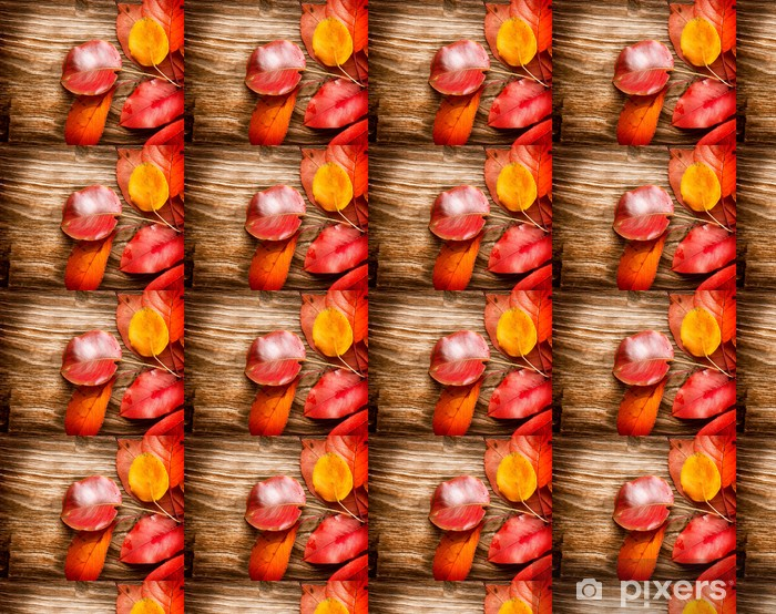 Tapeta na wymiar winylowa Jesienne liście na drewnianym tle. Spadek - Pory roku