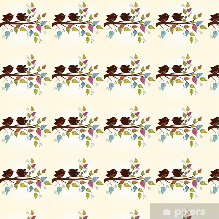 Vinylová tapeta na míru Krásné dva ptáci na větvi s panašovanými listy - Imaginární zvířata