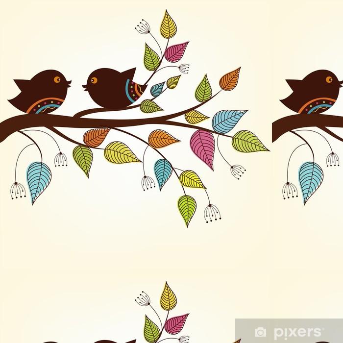 Vinylová Tapeta Krásné dva ptáci na větvi s panašovanými listy - Imaginární zvířata