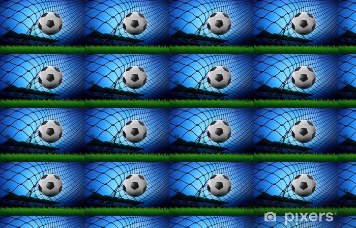 Tapete Fussball Fussball Im Tornetz Und Stadion Blauen Himmel Im Hintergrund Nach Mass