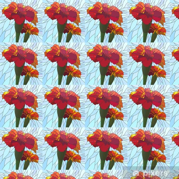 Papier peint vinyle sur mesure Vector illustration du souci de fleurs rouges. - Fleurs