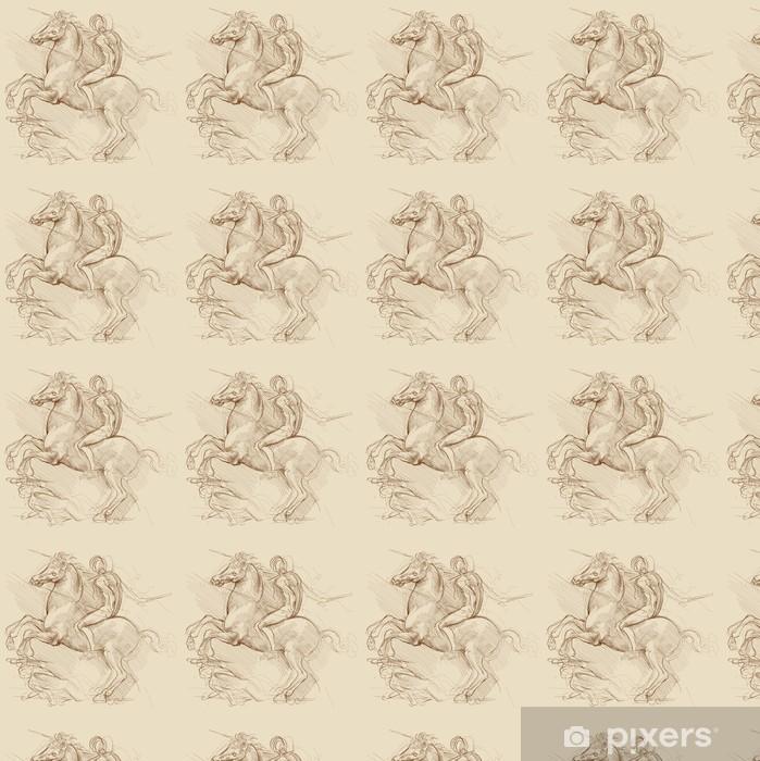 Vinylová tapeta na míru Kůň a jezdec. Na kreslení Leonardo da Vinci na základě - Témata