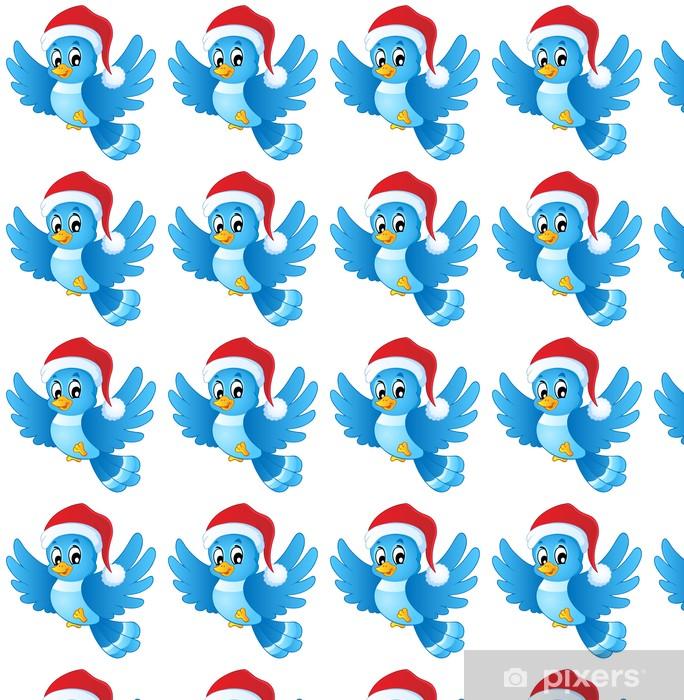 Vinyltapete nach Maß Blauer Vogel in Weihnachtsmütze - Internationale Feste