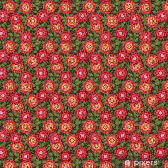 Zelfklevend behang, op maat gemaakt Traditionele bloemen naadloze patroon - Achtergrond