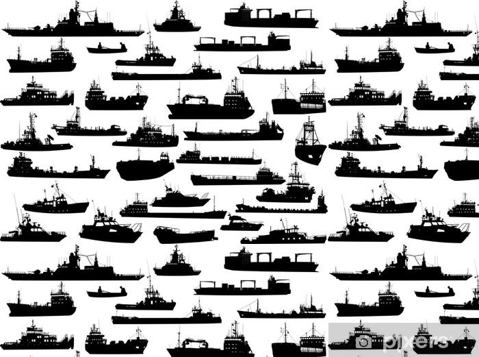Vinyltapet Sett med 32 silhuetter av sjøbåter, towboat og skipene - Båter