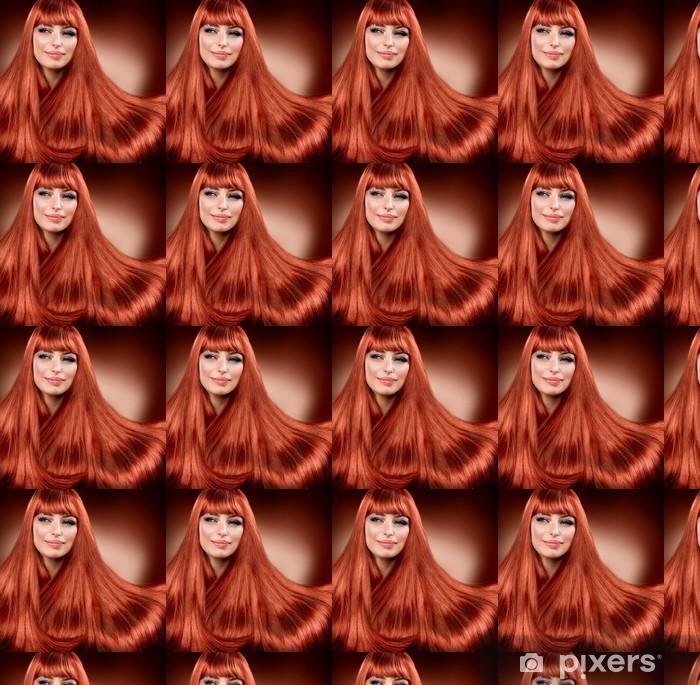 Papier peint vinyle sur mesure Cheveux Rouges Lisse sain. Extension - Femmes