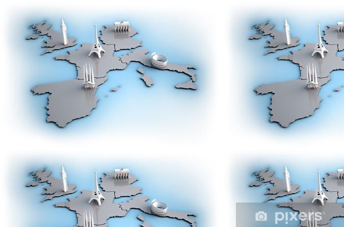Vinylová Tapeta Evropa (mapa) s dominant 5 největších zemí - Evropská města