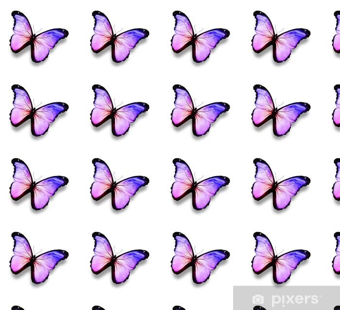Papier peint vinyle sur mesure Bleu, violet, papillon blanc, isolé sur blanc - Célébrations
