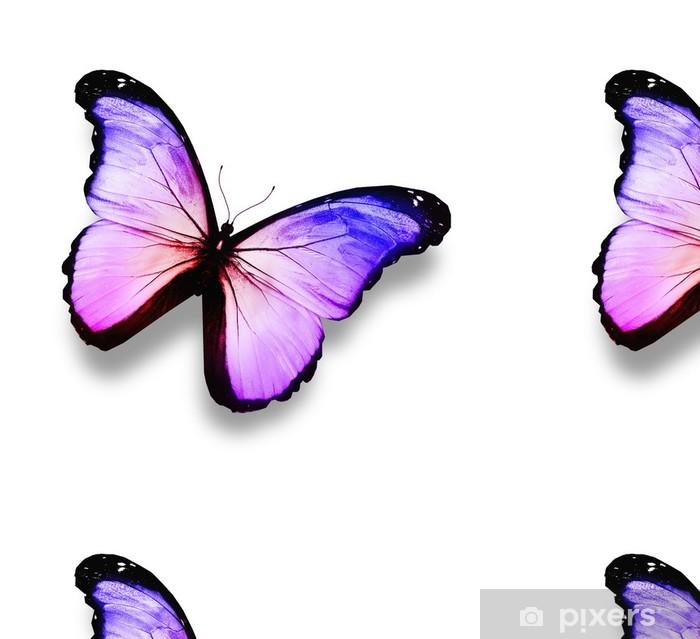 Sininen, violetti, valkoinen perhonen, eristetty valkoinen Vinyylitapetti - Juhlinta