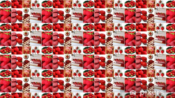 fraises Vinyl custom-made wallpaper - Sweets and Desserts