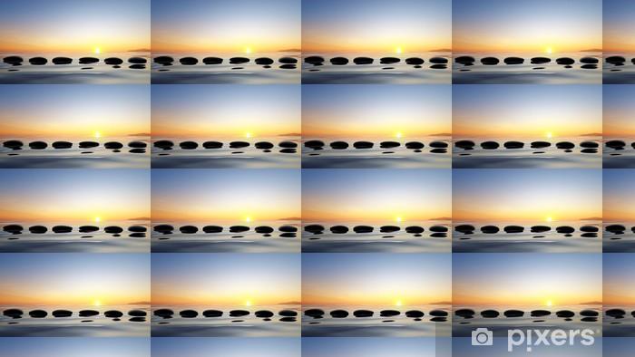Papier peint vinyle sur mesure Vue panoramique sur le lac avec des pierres zen dans l'eau - Ciel