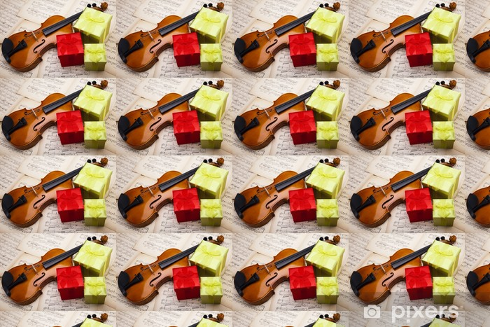 Gift and violin Vinyl custom-made wallpaper - Music