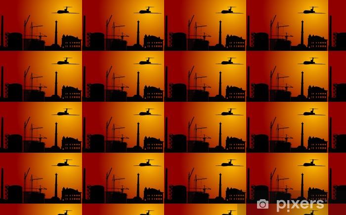 Papier peint vinyle sur mesure Avion au-dessus ville industrielle au coucher du soleil - Industrie lourde