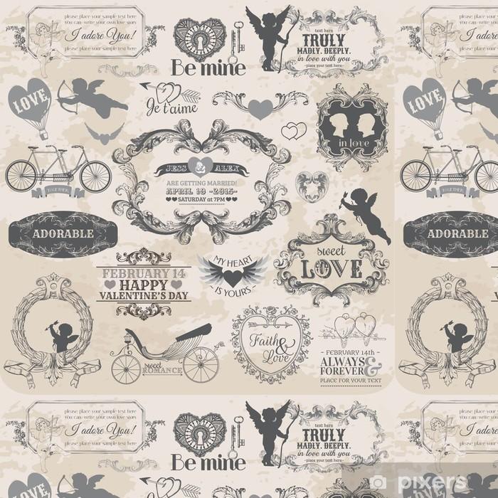 Vinylová Tapeta Scrapbook Design Elements - Vintage Valentýna Láska Set - Styly