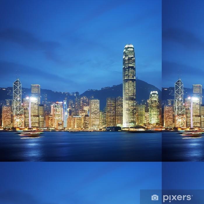 Papier peint à motifs vinyle Hong Kong, le port de Victoria la nuit. - Villes d'Asie