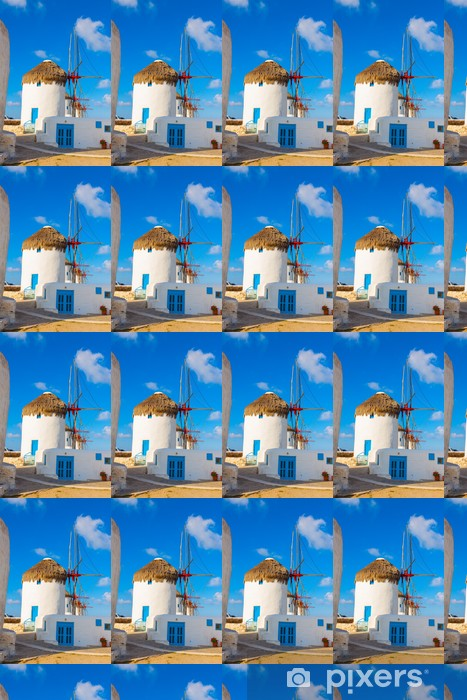 Windmills lined up closeup in Mykonos island cyclades Greece Vinyl Custom-made Wallpaper - European Cities