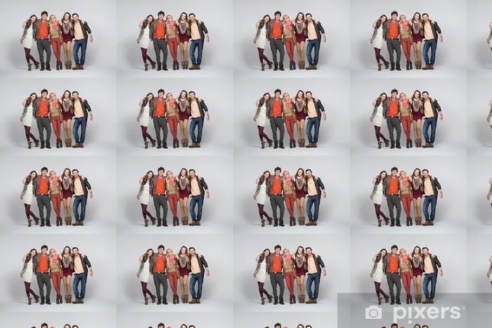 Papier peint vinyle sur mesure Sourire aux jeunes des renseignements blanc - Groupes et foules