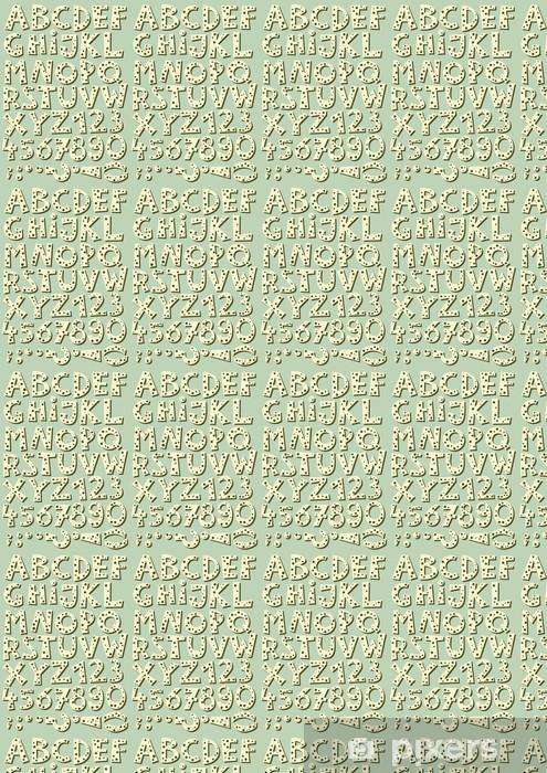Tapeta na wymiar winylowa Litery i cyfry w kropki retro zestaw na błękitnym tle - Sprzedaż