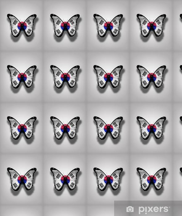 Vinyl behang, op maat gemaakt Zuid-Korea vlag vlinders, geïsoleerd op een vlag achtergrond - Nationale Evenementen