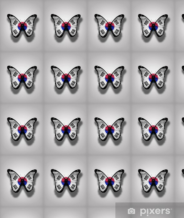 South Korea flag butterfly, isolated on flag background Vinyl custom-made wallpaper - National Events