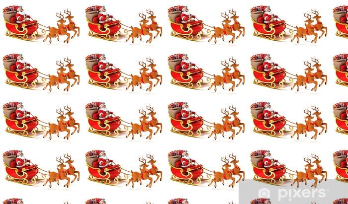 Tapeta na wymiar winylowa Mikołaj z saniami, jelenie i prezenty świąteczne - Święta międzynarodowe