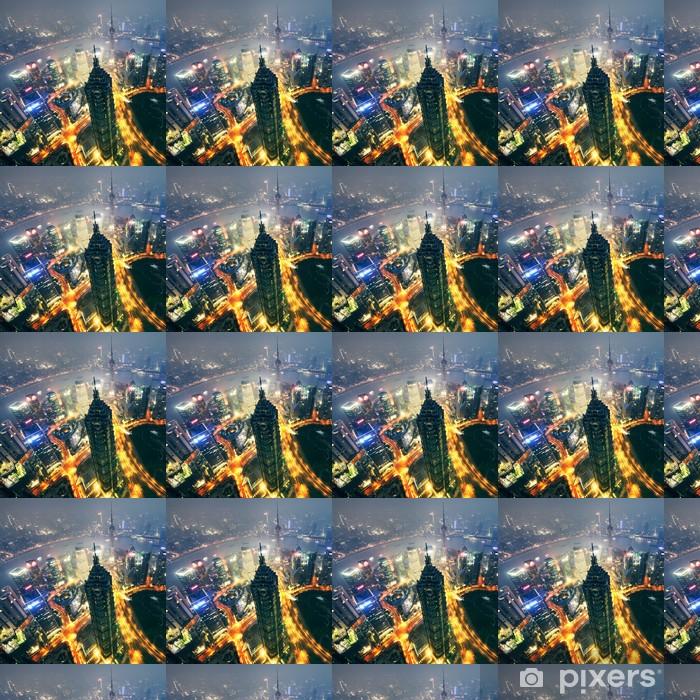 Tapeta na wymiar winylowa Shanghai City na zachód słońca z szlaków światła; - Pejzaż miejski