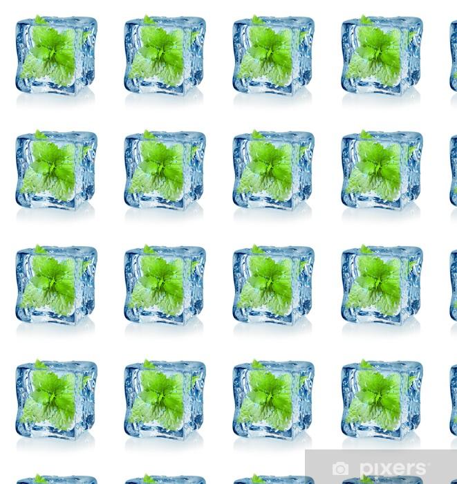 Papier peint vinyle sur mesure Cube de glace et menthe - Repas