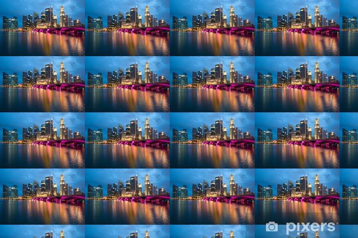 Tapeta na wymiar winylowa Singapur - 23 kwietnia: Singapur skyline świeci w nocy. Si - Pejzaż miejski